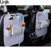 Urijk Car Back Seat Storage Organizer Trash Net Holder Multi Pockets Travel Storage Bag Hanger For