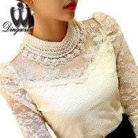 2016 Elegant Long Sleeve Bodysuit Beaded Women Lace Blouse Shirts Crochet Tops Blusas Mesh Chiffon Blouse
