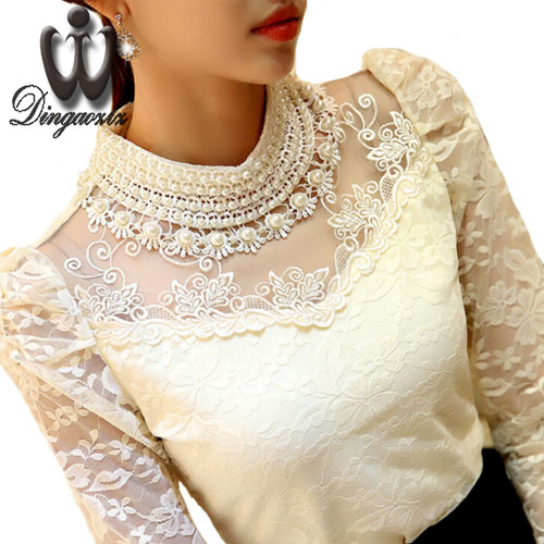 Dingaozlz elegante lungo tuta del manicotto in rilievo Delle Donne camicetta di pizzo shirt crochet top blusas Maglia Chiffon camicetta abbigliamento femminile