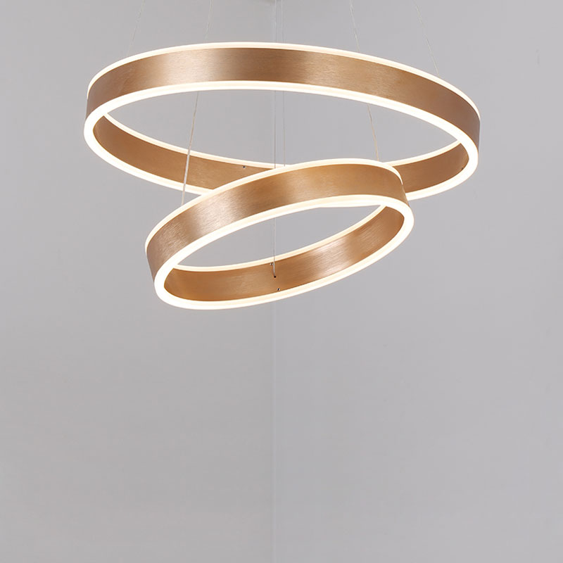 цена Modern Led Gold Pendant Light Fixtures With Remote Control Kitchen Living Room Loft Hanging Ring Lamp Decor Home Lighting 220V