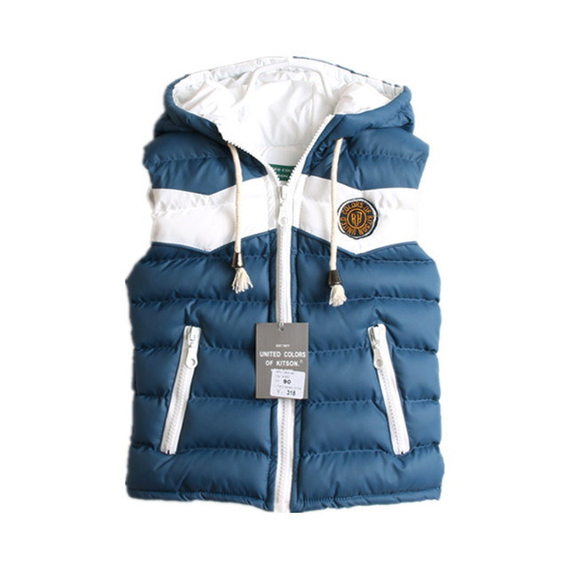 New Children Clothing Spring Fall Winter kids Thick Cotton Vest  Patchwork Hooded Children Waistcoat