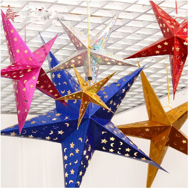 New Cardboard Stars Christmas Decorations For Home Indoor Gold Silver Red Blue 30 110cm Hollow Birthday Party In From