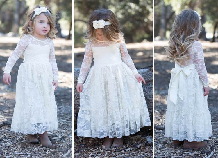 Spring Summer Autumn Girls Party Dresses White Lace Long Sleeve Wedding Maxi Dress Performance Dress Children