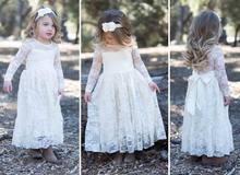 Printemps Été Automne Filles Partie Robes Blanc Dentelle À Manches Longues De Mariage Maxi Robe Performance Robe Enfants Vêtements TD1352