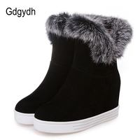Gdgydh Good Quality Platform Boots Women Winter Warm Shoes High Heels 2017 Black Gray Fashion Fur
