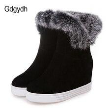 Gdgydh良質冬のブーツの女性の靴プラットフォームハイヒール 2019 黒グレーリアルファー雪のブーツプラスサイズ 43