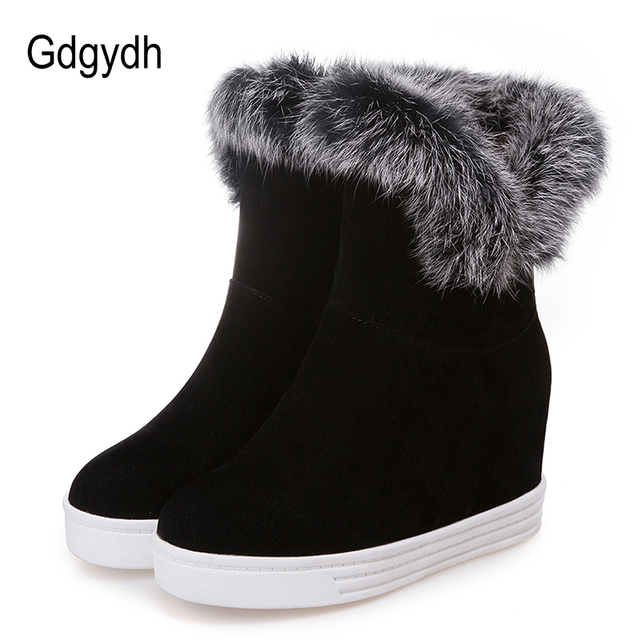 Gdgydh Good Quality Winter Boots Women Warm Shoes Platform High Heels 2019 Black Gray Real Fur Ladies Snow Boots Plus Size 43