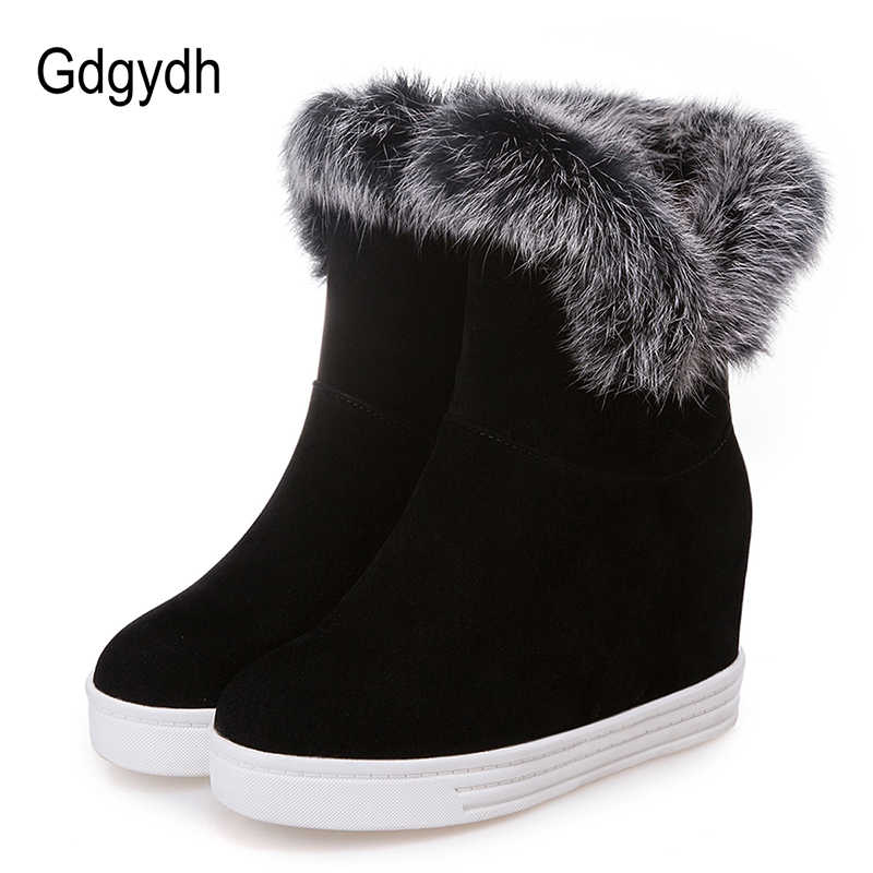 Gdgydh iyi kaliteli kışlık botlar kadın sıcak ayakkabı platformu yüksek topuklu 2019 siyah gri gerçek kürk bayan kar botları artı boyutu 43
