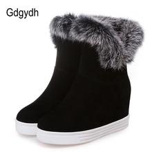 Gdgydh نوعية جيدة الشتاء أحذية النساء أحذية دافئة منصة عالية الكعب 2019 أسود رمادي الفراء الحقيقي السيدات الثلوج الأحذية حجم كبير 43