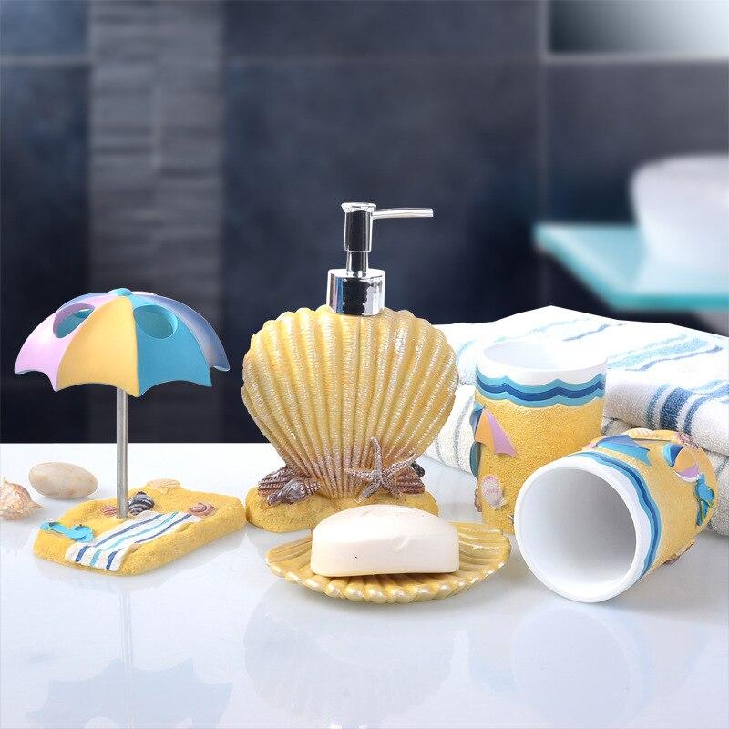 5 pièces/ensemble fond marin coquilles exquis résine salle de bains accessoires Set distributeur de savon/porte-brosse à dents/gobelet/porte-savon/Lotion bouteille
