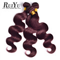 Burgundy Brazilian Body Wave 3Pcs Burgundy Brazilian Hair Weave Bundles Red Wine 99J Human Hair Brazilian Virgin Hair Body Wave
