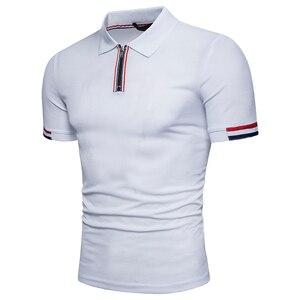 Image 3 - Polo à manches courtes pour homme, flambant neuf, slim, design en coton, avec fermeture éclair, respirant, grande taille, EU, 2018