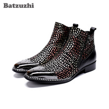 цена на Batzuzhi Handmade Men Shoes Boots Pointed Iron Toe Color Leather Ankle Dress Boots Men Formal Party and Wedding Boots Man Botas