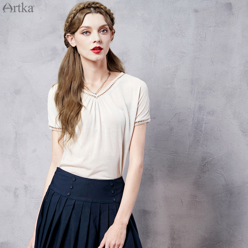 Artka Womens Summer New 4 Colors Hollow Out Drapped Vintage T-shirt V-Neck Short Sleeve Loose Style All-match Tees TA10168C