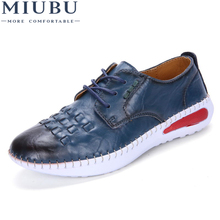 MIUBU Genuine Leather shoes Women Flats Shoe Fashion Casual Lace Up Soft Loafers Spring Autumn Female Driving Shoes Wholesale genuine leather women flats lace up casual leather gray shoes for women autumn flats soft leather retro handmade women shoe 2018