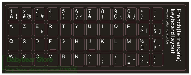 1000pcs lot customized french keyboard sticker franch azerty for laptop desktop keyboards. Black Bedroom Furniture Sets. Home Design Ideas