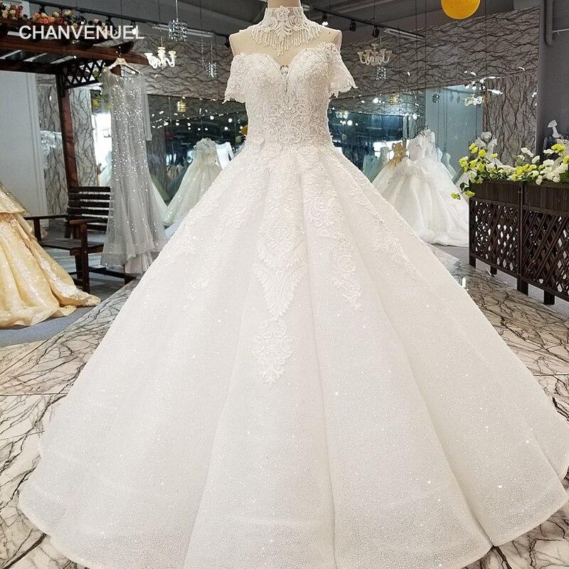LS01773 1 этаж длины кривой формы юбки свадебное платье с высоким кружевом ожерелье от плеча возлюбленной невесты свадебные платья 2018