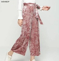 WISHBOP NIEUWE 2017FW Mode Vrouw Roze Glanzende Fluwelen Breed Been Broek Boog Riem Gebonden Terug Elastische Zijzakken Broek