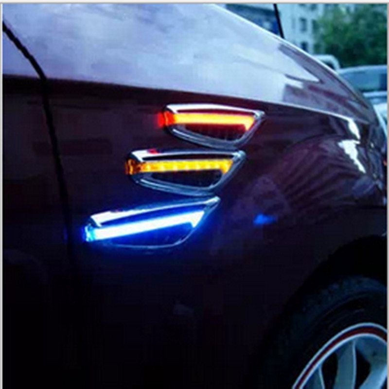 BBQ@FUKA 2x 46 LED Car Side Fender Modify Turn Signal Bulb Light Fit For BMW X5 X3 Audi VW Ford Buick Hyundai Universal Car