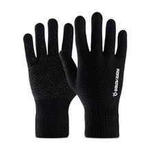1 Pair Winter Gloves Knit Mitten Anti-slip Touch Screen Gloves Full-finger Wool Magic Warm Gloves for Women Men
