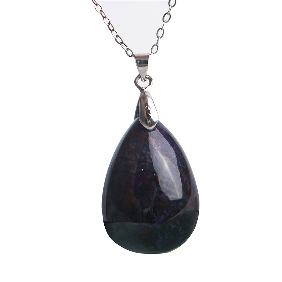 Free Shipping Natural Sugilite Plated Necklace Pendant Women Genuine Popular Water Drop Pendant Fashion Trendy Jewelry mele natural shell necklace pendant for women fashion meteor collar trendy and popular manual work handmade