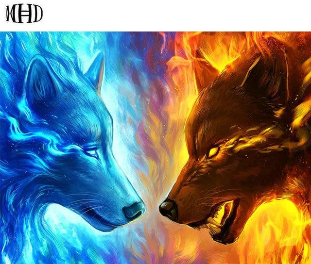 Mhd 3d Diamond Cross Stitch Ice Wolf And Fire Wolf Icon