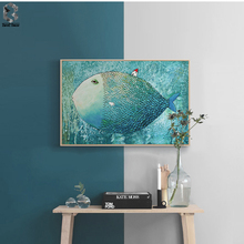 Nordic Canvas Painting Abstract Fish Wall Art Poster Watercolor Decoration Prints Bedroom Home Decor