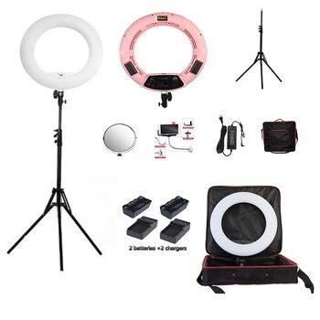 Yidoblo Pink FS-480II Bio-color adjustable beauty salon make up 48W Ring Light LED Lamp+ 2M stand +Bag + batteries Kit