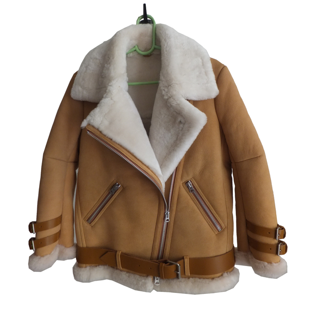 New Blue Color Real Shearling Coat Natural Sheepskin Suede Men and ...