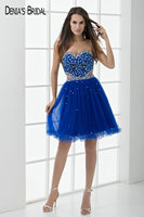 Royal Blue Short Prom Dresses Sweetheart Neck A Line Beaded Prom Gowns Custom Made