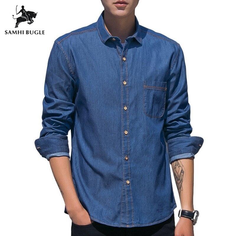 Japanese 2019 Autumn New Denim Shirts Men Pocket Slim Fit Long Sleeve Denim Tops Male Blouses Plus Size 3XL Brand Clothing