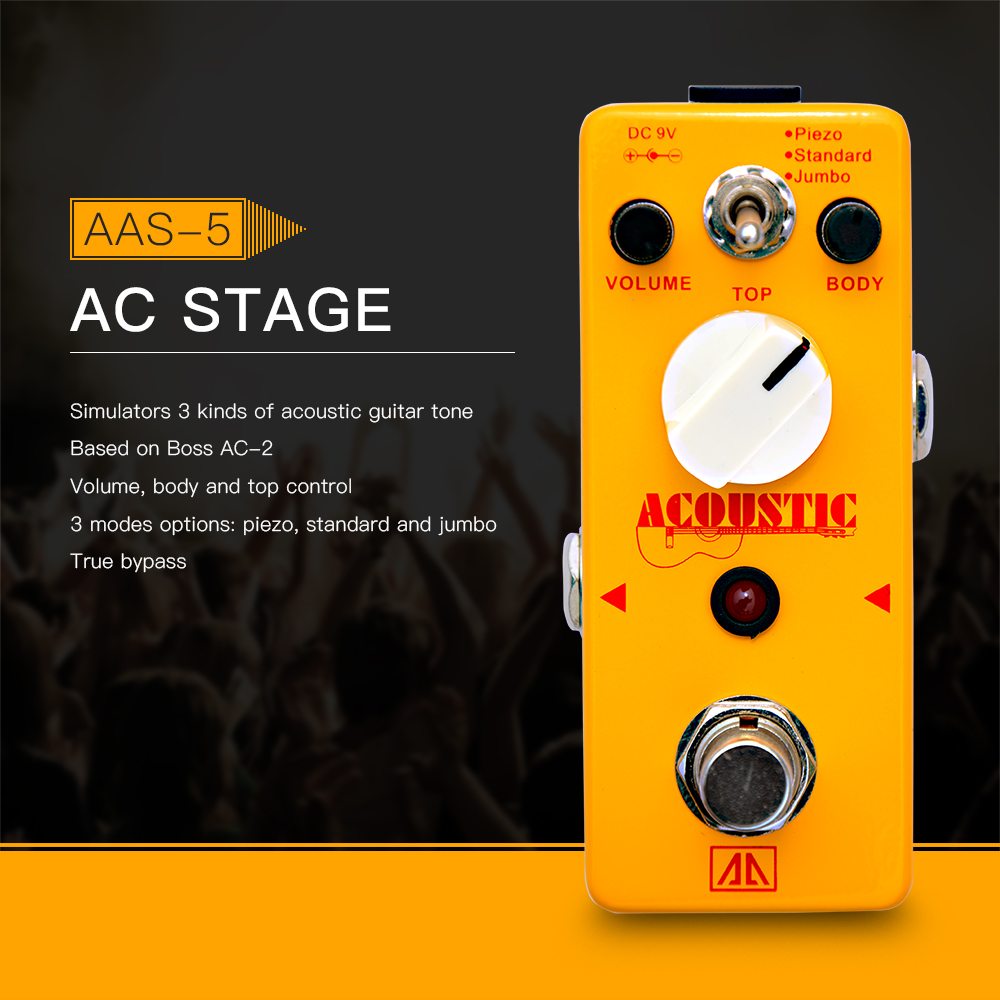 AROMA AAS-5 Acoustic Guitar Simulator Effect Pedal 3 Modes Aluminum Alloy Body True Bypass, base on Boss AC-02 aroma ac stage acoustic guitar simulator effect pedal aas 3 high sensitive durable top knob volume knob true bypass metal shell