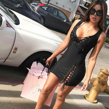 Fashion Lace Up Bandage Dress Women 2018 New Arrival Summer Deep V-neck Sleeveless Slim Elastic Bodycon Party Dresses Vestidos