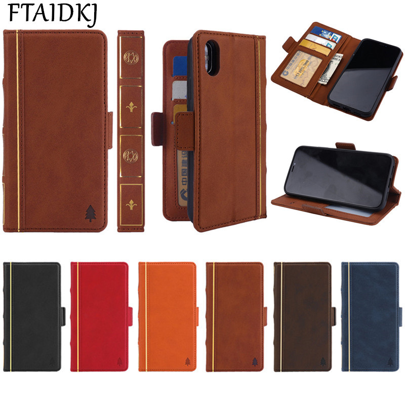 FTAIDKJ PU Leather Book Flip Kickstand Case For iPhone XS Max XR Wallet Stand Cover X 10 7 6 6S 8 Plus 5 5S SE Coque