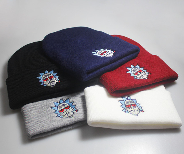 Аниме Рик и Морти шапочка зимняя Лыжная унисекс шапка Регулируемая теплая шапка Рик шапки вышитая шляпа хип-хоп вязаные шапочки рождественские подарки