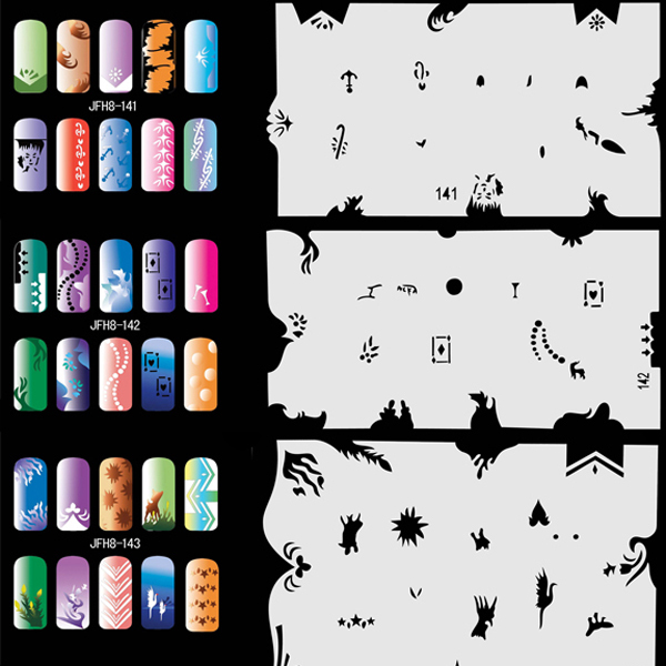 Airbrush Stencils For Nail Art Paint Air Brush Salon 320 Design (20 Sheets) Set No.8  цены