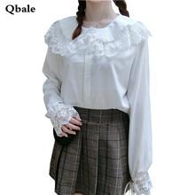 Qbale Spring Summer Tops 2017 Kawaii Lolita Style Lace Hem Peter pan Collar Women Long Sleeve White Shirts
