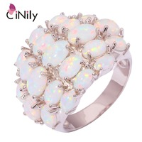 CiNily Luxury Large Fire Opal Finger Rings Silver Plated Wide Ring With White Stone Cocktail Party Jewelry Best Gifts for Woman
