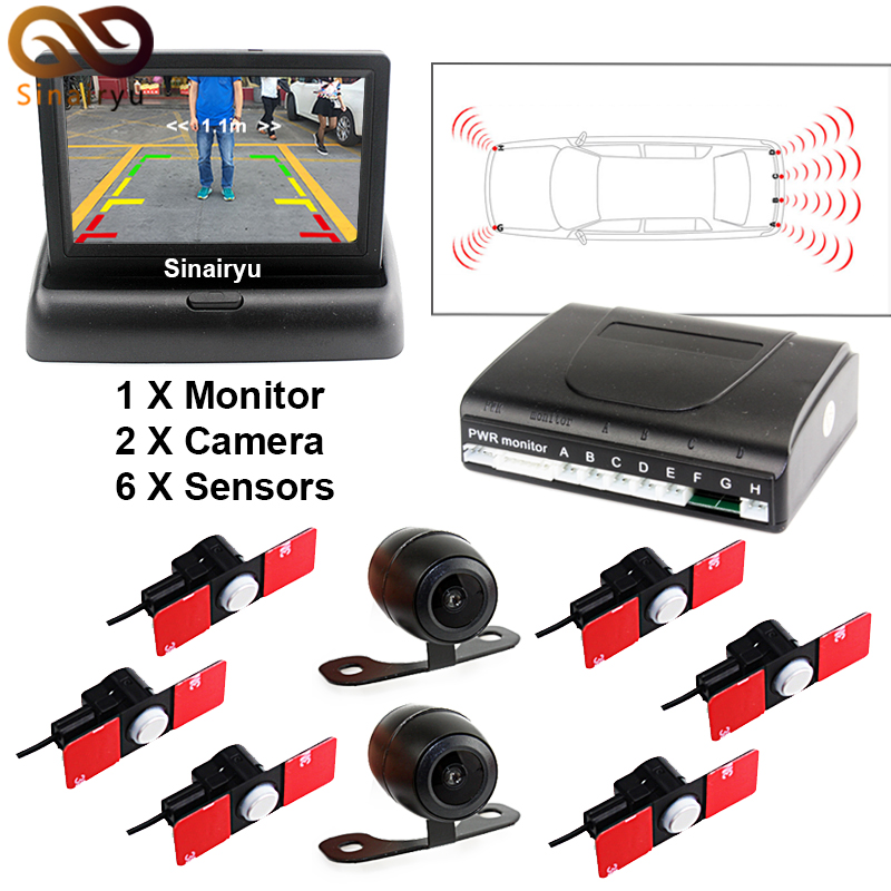 Car Parking Sensors 13mm Flat Sensors Reverse Backup Radar With Front Camera And Rear Camera And 4.3 Car Video Monitor