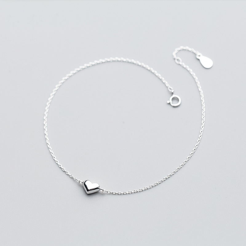 MloveAcc 925 Sterling Silver Romantic Small Heart Charm Anklets for Women S925 Ankle Bracelet Adjustable Length