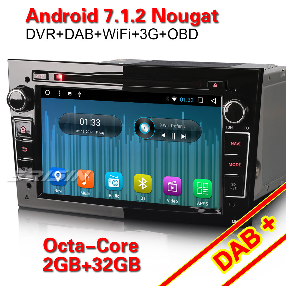erisin es5478p 7 inch android 7 1 2 octa core car dvd. Black Bedroom Furniture Sets. Home Design Ideas