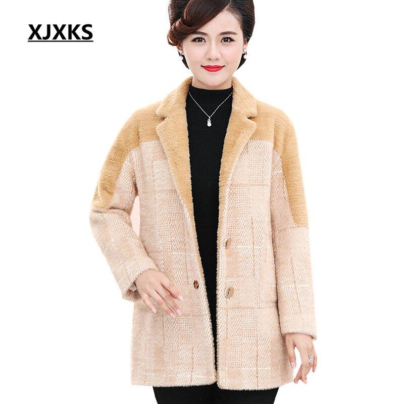 XJXKS Winter women long coat 2019 new loose large size fashion lapel single breasted pocket women