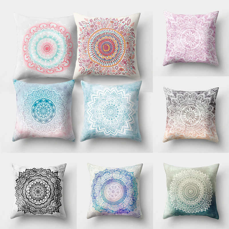 Popular  Polyester Hot Sale High Quality Mandala Pattern Pillow Case Cover Throw Pillow Home items 1PC