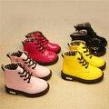 Nuevo 2016 Dulce de Charol Color caramelo Niños Cargadores de Martin de Alta Superior Zapatos de Los Padres para el Invierno Otoño #2749