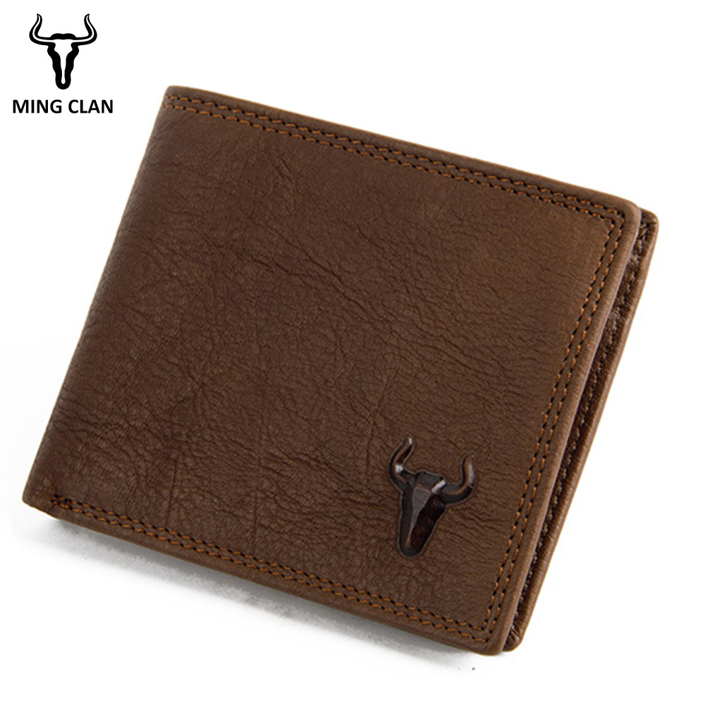 Mingclan Brand 2018 Vintage Man Wallet Male Slim Top Genuine Leather Wallets Thin Money Dollar Card Holder Small Purses Wallet