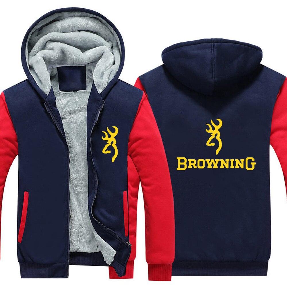 Browning Firearms Thicken Fleece Hoodie Sweatershirt Winter Warm Coat Hoodie Browning Firearms