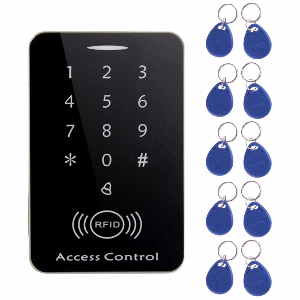 LESHP RFID standalone access control card reader with digital keypad+10 TK4100 keys for home/apartment/factory secure system rfid standalone access control card reader with digital keypad 125khz 13 56mhz smart card lock with lcd screen for secure system