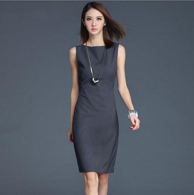 6b877a3e30 Summer Dark Gray Sleeveless H Type Office Dress Women Classic Simplicity  Slim Dress Sexy O-neck Knee-length Dresses Vestido Robe