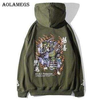 Aolamegs Hoodies Men Chinese Printed Hooded Pullover Sweatshirt Men High Street Fashion Hip Hop Streetwear Couple Hoodie Autumn hoodie