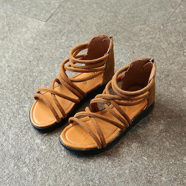 e46149854b3b61 HaoChengJiaDe Summer Style Children Sandals Girls Fashion Princess  Beautiful Soft Shoes Kids Flat Sandals Baby Girls Roman Shoes